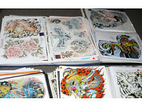 FLASH COLLECTION! 100s of Tattoo design sheets A3 laminated JOB LOT from shop closure SEE VIDEO