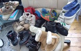14 pairs of kids boys shoes size 4 5 6 7 8 nike adidas la coste timberland jordan wellies sandals