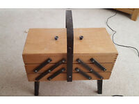 Wooden Cantilever Sewing box............£15