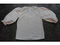 "Vintage white Scottish blouse: 36"" chest"