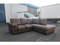 Brown leather corner sofa DELIVERY AVAILABLE