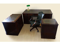 Antique Style Leather Top Desk (Key) + 2 Filing Cabinets + Captains Chair