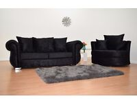 BRAND NEW WINDSOR 3SEATER AND CUDDLE CHAIR IN BLACK CRUSHED VELVET SOFA SET - FAST U.K DELIVERY