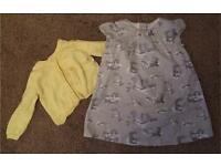 Peter rabbit mothercare drsss and a yellow cardi 6-9