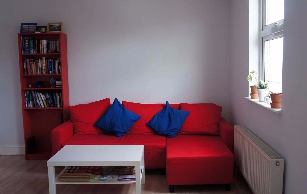 IKEA sofa bed with chaise longue LUGNVIK red Sofabed corner