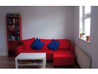 IKEA sofa bed with chaise longue LUGNVIK, red. Sofabed, corner sofa.