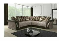 🔵💖SUPEREME DISCOUNT🔵BRAND NEW SHANNON SOFA FABRIC & FAUX LEATHER LEFT / RIGHT CORNER/3+2 SEATER🎷