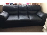 Very Comfy Three Seater Black Leather Sofa