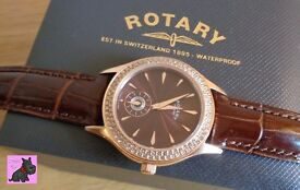 Rotary LS02907-16 Ladies Waterproof Brown Dial Leather Strap Watch with Crystals. RRP £159