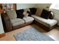 Corner Sofa Brown/cream