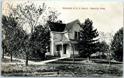"Mankato, Kansas Postcard ""Residence of G.H. Bailey"" House View w/ 1908 Cancel"