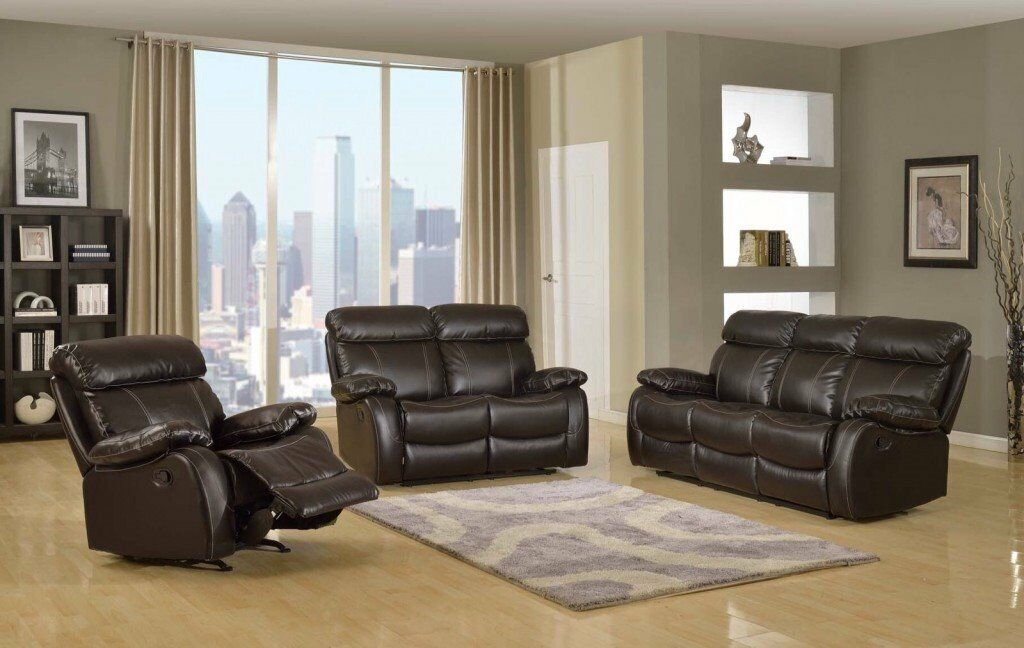 BRAND NEW Leather Recliner Sofas Milano Brown