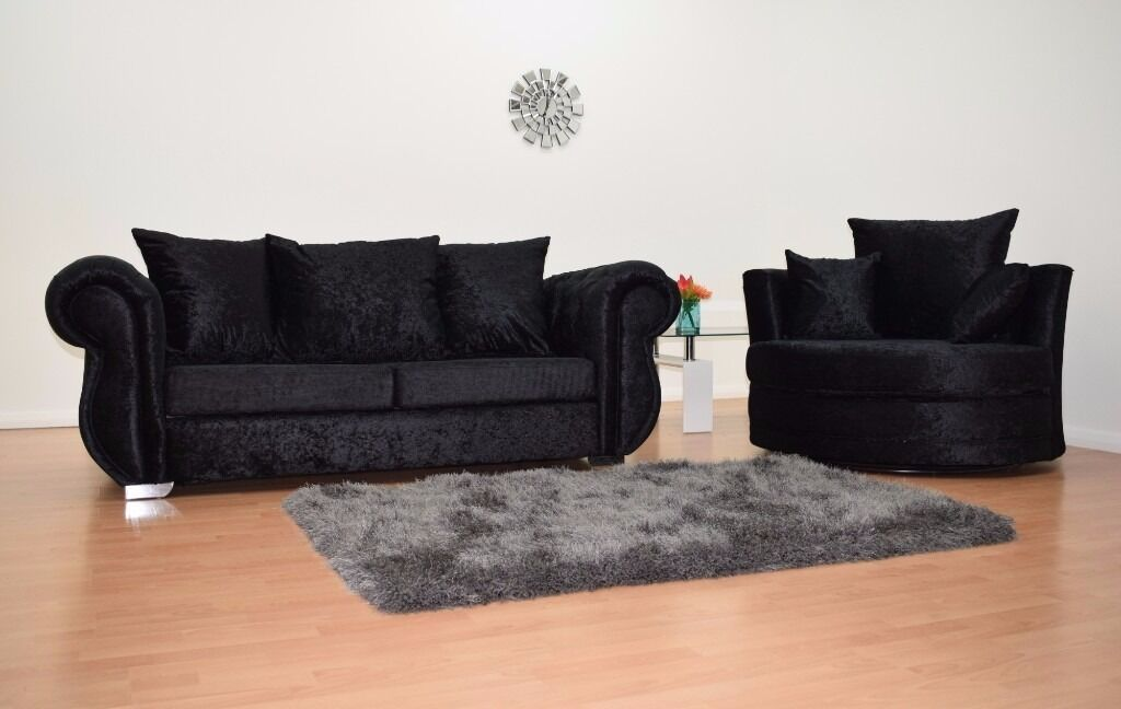 Lovely BRAND NEW WINDSOR 3SEATER AND CUDDLE CHAIR IN BLACK CRUSHED VELVET SOFA SET    FAST U.K
