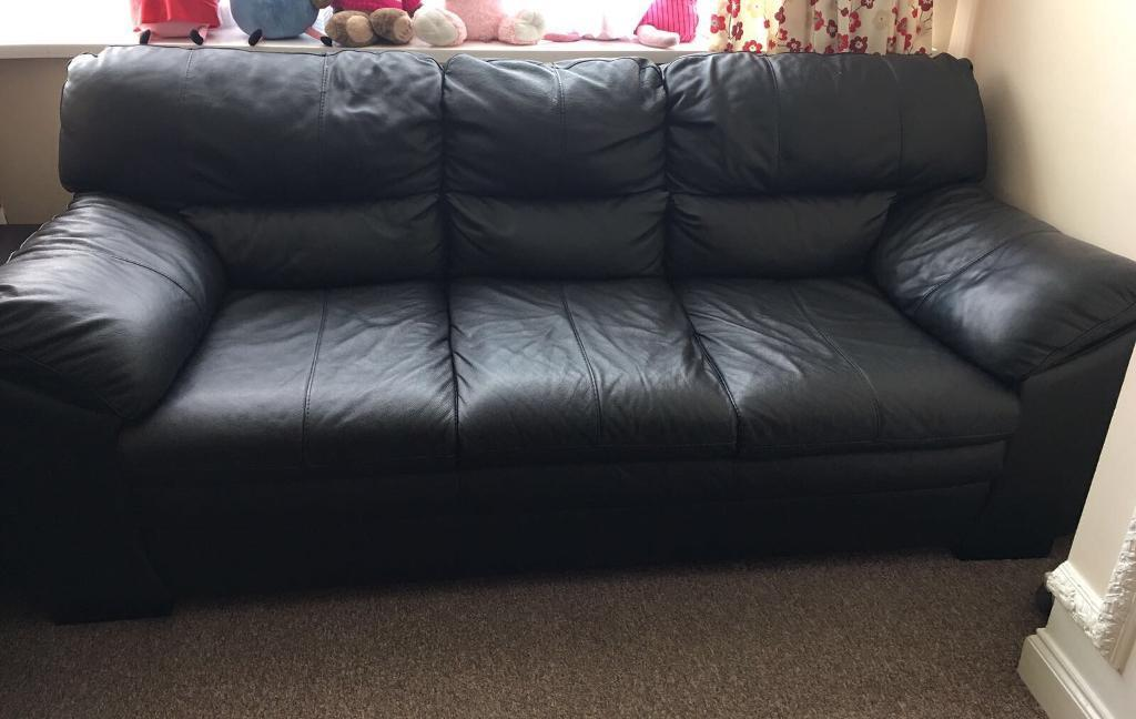 Wonderful Black Leather Couch Part - 14: 2 Large Dfs New Force 3 Seater Black Leather Sofas