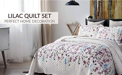 Quilt 3 Piece Reversible Bedspread Coverlet Lilac Set Soft Twin Queen King Gift ()