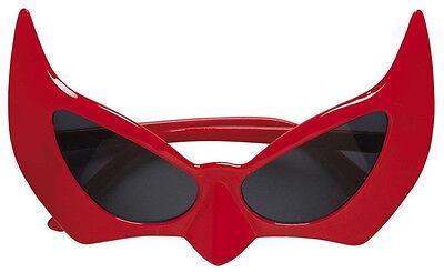 Brille Teufel Teufelin rot mit dunklen Gläsern, Kostüm Accessoire Halloween