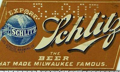 1890's Jos Schlitz Export Beer Pre-Prohibition Vintage Original Bottle Label F77