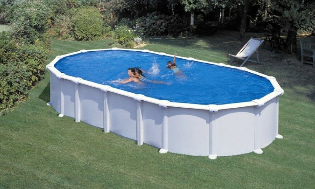 pool oval becken 9 2m x 4 6m x 1 35m stahlwand weiss schwimmbad ebay. Black Bedroom Furniture Sets. Home Design Ideas