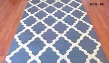 LATTICE DESIGNER RUG BLUE - WHITE LINES - 160cm x 230cm Blacktown Blacktown Area Preview