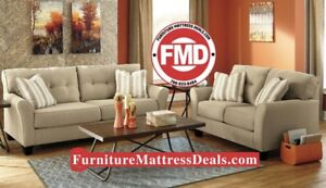 Brand new 2 Piece tan fabric sofa / couch and love seat $1200
