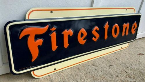 """""""FIRESTONE"""" LARGE EMBOSSED METAL SIGN, (DATED 1947) 48""""x 16"""", NICE SIGN"""