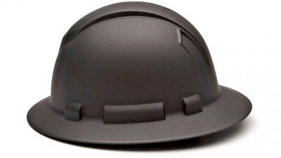 Pyramex Ridgeline Black Graphite Full Brim Hard Hat 4 Point Ratchet Suspension