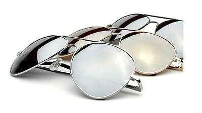 PILOT Sunglasses Designer Mens Fashion Silver Frame Shades Mirror Lens Met h (Mets Sunglasses)