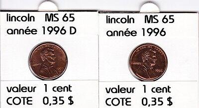 2 pieces 1 cent  lincoln 1996   D/P   voir description &