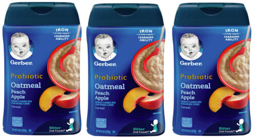 Gerber Probiotic Oatmeal & Peach Apple Baby Cereal - Pack of 3