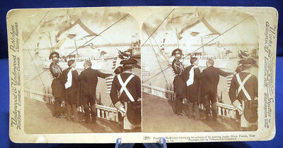 Antique Stereoview Card Underwd President McKinley River Boat Parade New Orleans