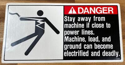 1p2240 Link-belt Danger Sticker Decal Label Electric Power Lines 5.375 X 10.5