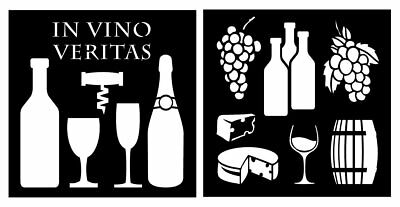 """Detailed Wine, Cheese Accessories Stencil Set - (2) Piece Kit - 10"""" x 10"""" Sheets"""