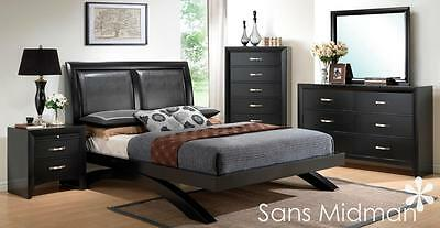NEW! Arc Modern 6 pc Black Wood Bedroom Furniture Set, Queen Size Platform Bed ()