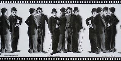 Black And White Borders (Charlie Chaplin Black & White Silent Movie Film Strip Wallpaper Border Wall)