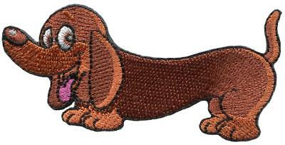 Dachshund wiener hot dog breed diy embroidered applique iron-on patch S-1604, used for sale  Shipping to United States