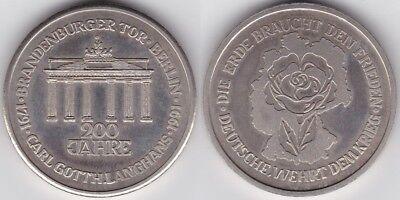 Hettstedt-Medaille Berlin 200 Jahre Brandenburger Tor 1991 Carl Gotth. Langhans,