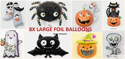 8 Large Halloween Foil Air Fill Balloon Decoration. UK SELLER.](Halloween Balloons Uk)