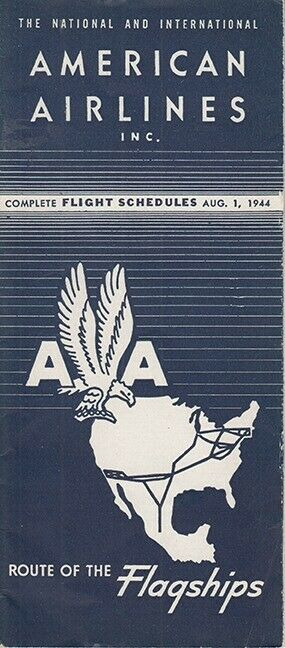 American Airlines timetable 1944/08/01