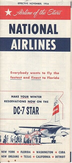 National Airlines timetable 1954/NOV