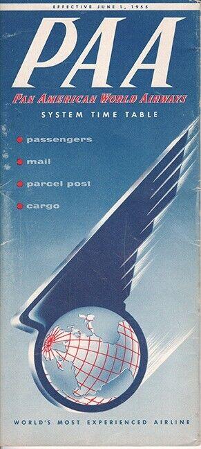 PAA Pan American World Airways timetable 1955/06/01