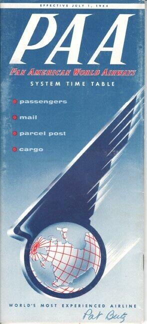 PAA Pan American World Airways timetable 1954/07/01