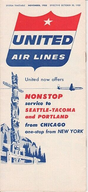 United Air Lines timetable 1955/10/30