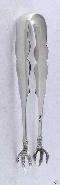 1830s Antique American Coin Silver Claw Foot Sugar Cube Tongs