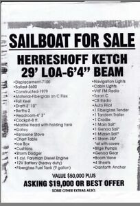 "SAILBOAT FOR SALE (HERRESHOFF KETCH 29' LOA 6'9"" BEAM)"