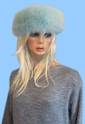 NEW GENUINE SEAFOAM GREEN FOX FUR HEADBAND -NECK WRAP - SCARF adjustable