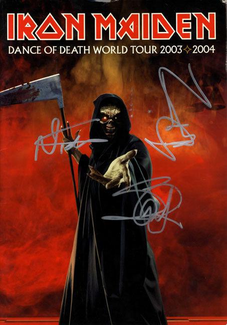 Iron Maiden Bruce Dickinson Steve Nicko Signed Tour Program AFTAL UACC RD COA