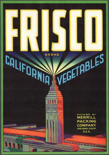 12 FRISCO Vegetable Crate Labels California original 1940s wholesale SKYSCRAPER