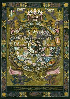 Wheel Of Life 30x44 Tibetan Mandala Print Asian Art Buddah Buddhism Buddhist