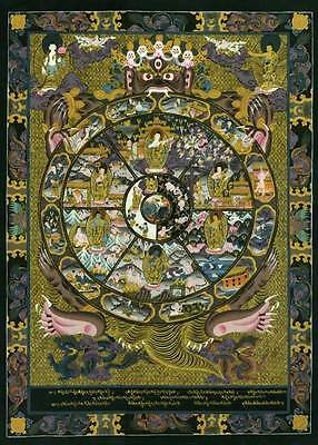The Wheel Of Life 22x30 Tibetan Art Mandala Art Print Asian Art