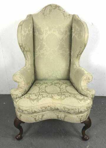 Kittinger Williamsburg Mahogany Wing Chairs Green Damask Fabric CW 163 Rare